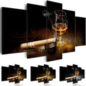 Bild XXL Format Vlies Leinwand, 5 Teilig, Whisky Zigarre