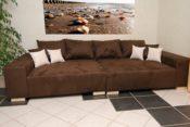 Big Sofa - braun mit beigen Kissen