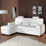 Sofa MODENA Wohnlandschaft mit Schlaffunktion Kunstleder Webstoff weiß