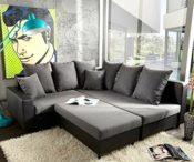 Sofa Couch Lavello Grau Schwarz 210x210 cm mit Sitzhocker
