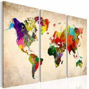 XXL Weltkarte Bild auf Leinwand