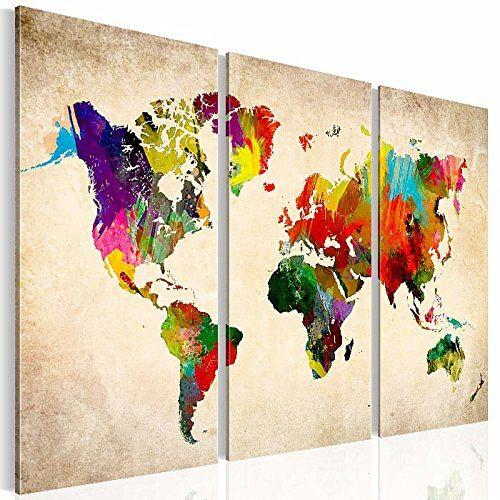 Wandbild Malen Mit Beamer :  , Wandbild Coloured World, 120 x 80 cm, Fertig Aufgespannt 3 Teile