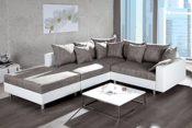 Design Ecksofa mit Hocker LOFT weiss Strukturstoff grau Federkern Sofa OT beidseitig aufbaubar