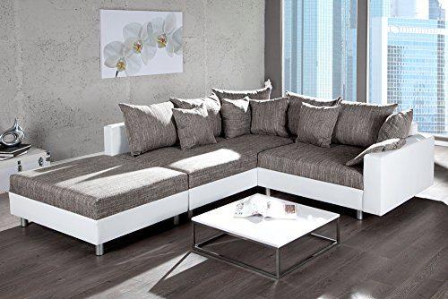 Design Ecksofa Mit Hocker Loft In Weiss