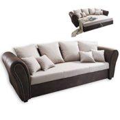 Big Sofa - beige-braun - Leder - Stoff