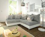 Ecksofa Clovis Sofa grau/weiß