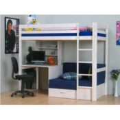 Thuka Hochbett massiv und Schreibtisch weiß
