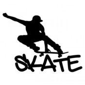 Wandtattoo Skateboard schwarz