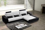 Ecksofa weiß/schwarz