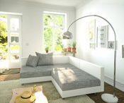Couchgarnitur weiß/gellgrau