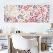Glasbild - Pastell Paper Art Rosen