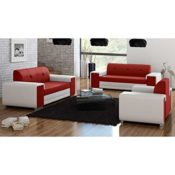 JUSThome Sofa weiß-rot 3er Set