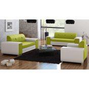 Sofa Set (3+2+1) Kunstleder weiß/grün