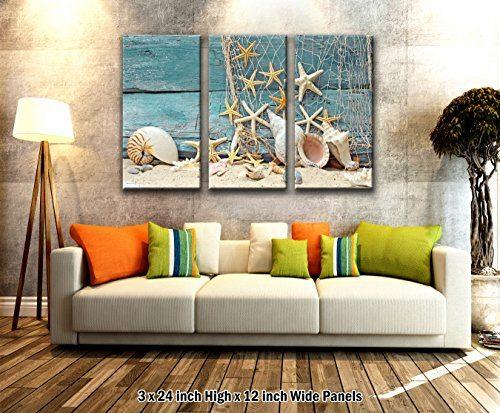 3 panel wand kunst strand muscheln leinwand. Black Bedroom Furniture Sets. Home Design Ideas