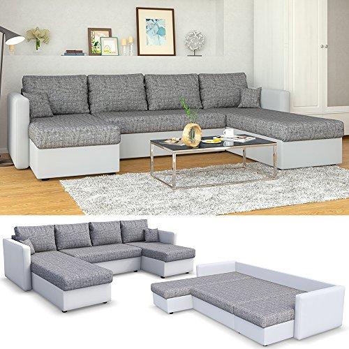 polsterecke mit schlaffunktion wei grau. Black Bedroom Furniture Sets. Home Design Ideas